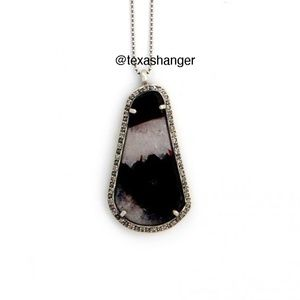 NWT Chan Luu Dark Red Agate Diamond Necklace